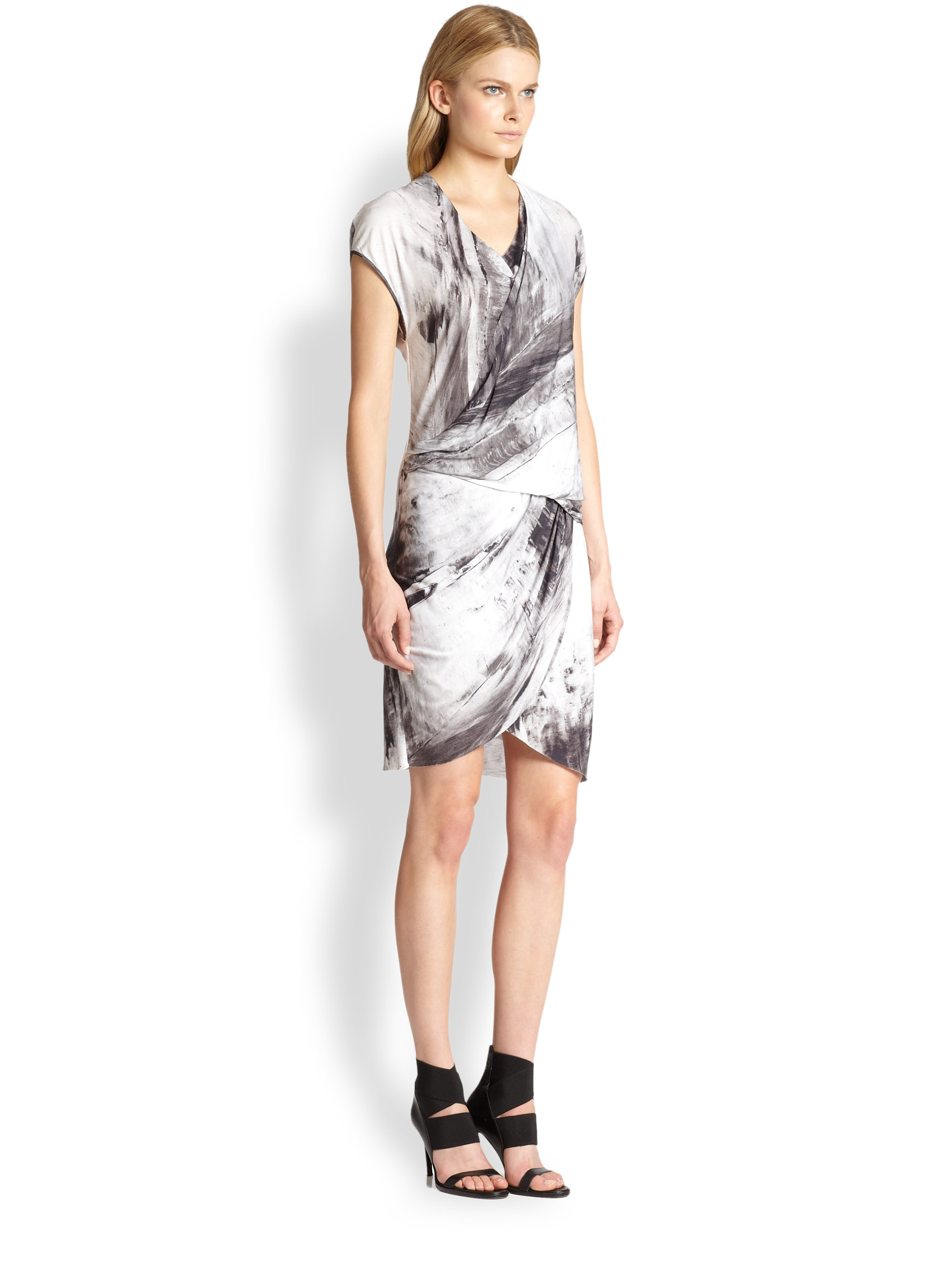 Lyst Helmut Lang Tidal Print Tucked Jersey Dress In Black