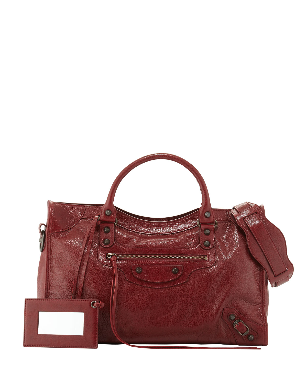 lyst balenciaga classic city lambskin tote bag in red. Black Bedroom Furniture Sets. Home Design Ideas