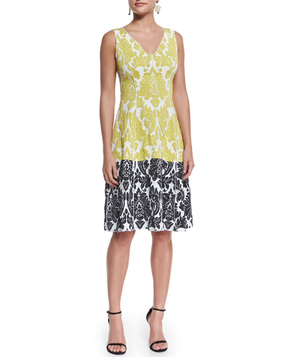 Lyst St John Damask Knit V Neck Dress In Yellow