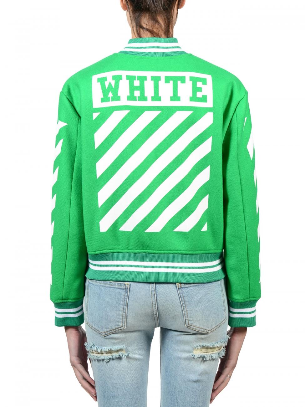 off white c o virgil abloh brillant green letterman jacket. Black Bedroom Furniture Sets. Home Design Ideas