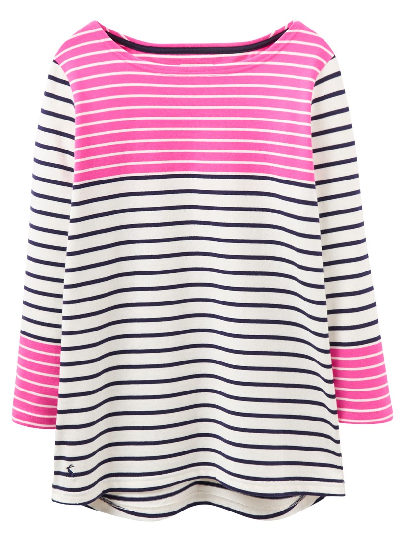 lyst joules harbour colour block stripe jersey top in pink. Black Bedroom Furniture Sets. Home Design Ideas