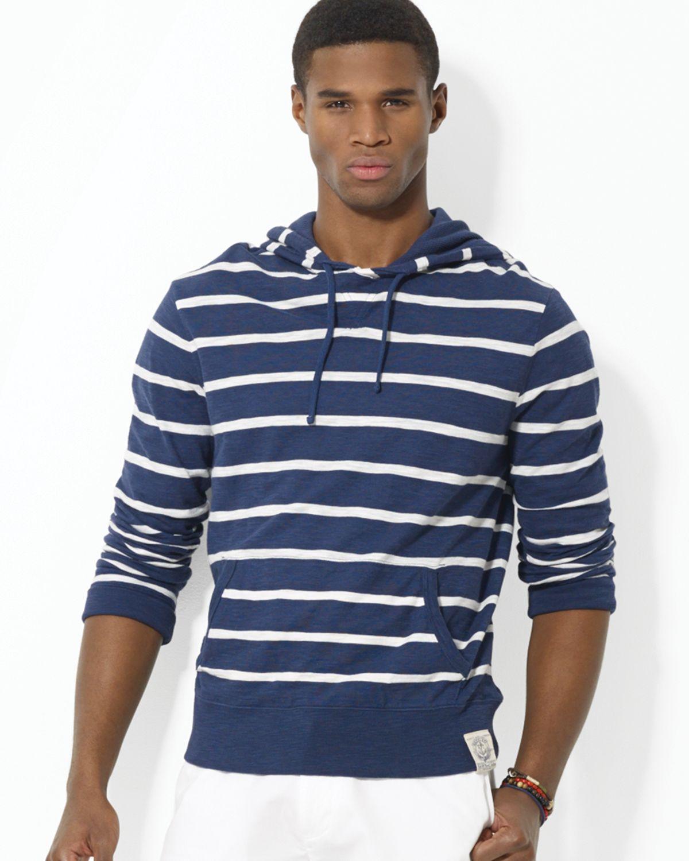 ralph lauren polo striped slub jersey pullover hoodie in. Black Bedroom Furniture Sets. Home Design Ideas