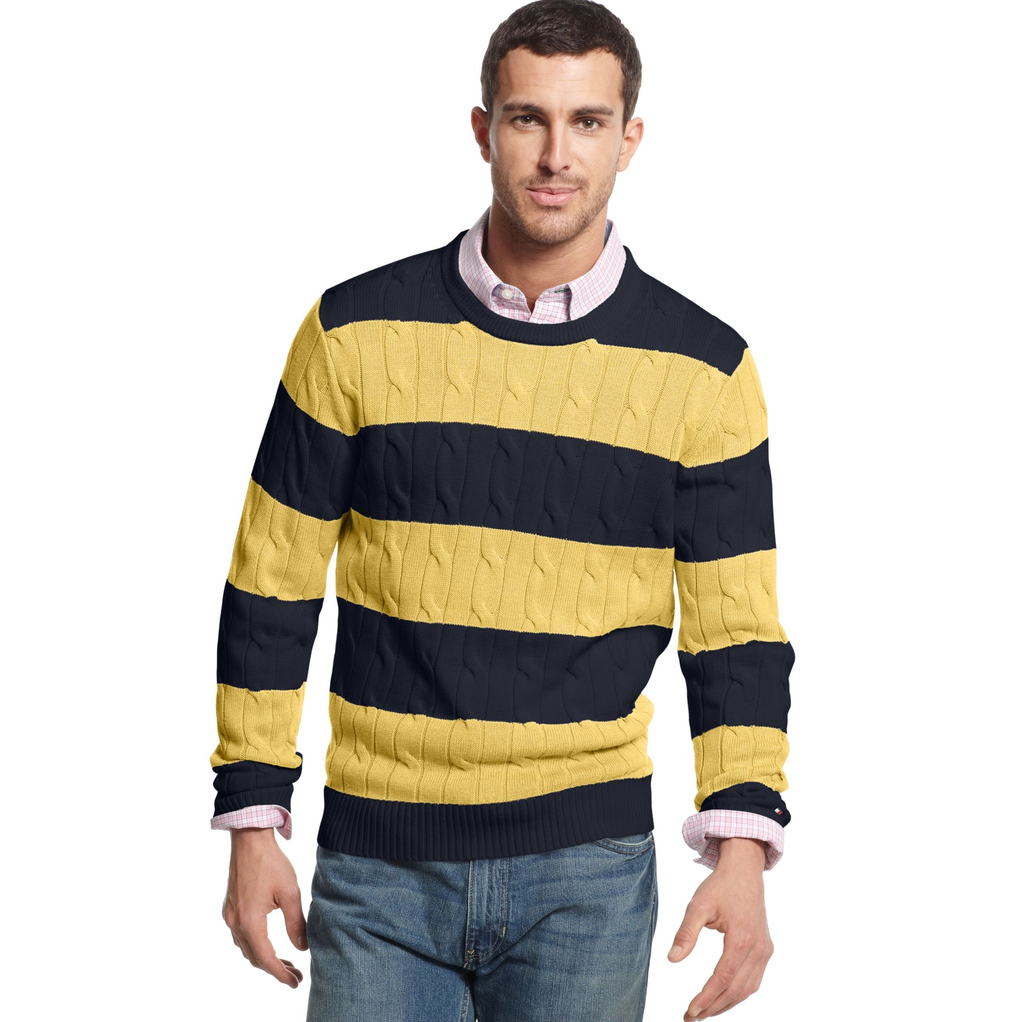 Lyst Tommy Hilfiger Connor Cable Stripe Crew Neck Sweater In Blue