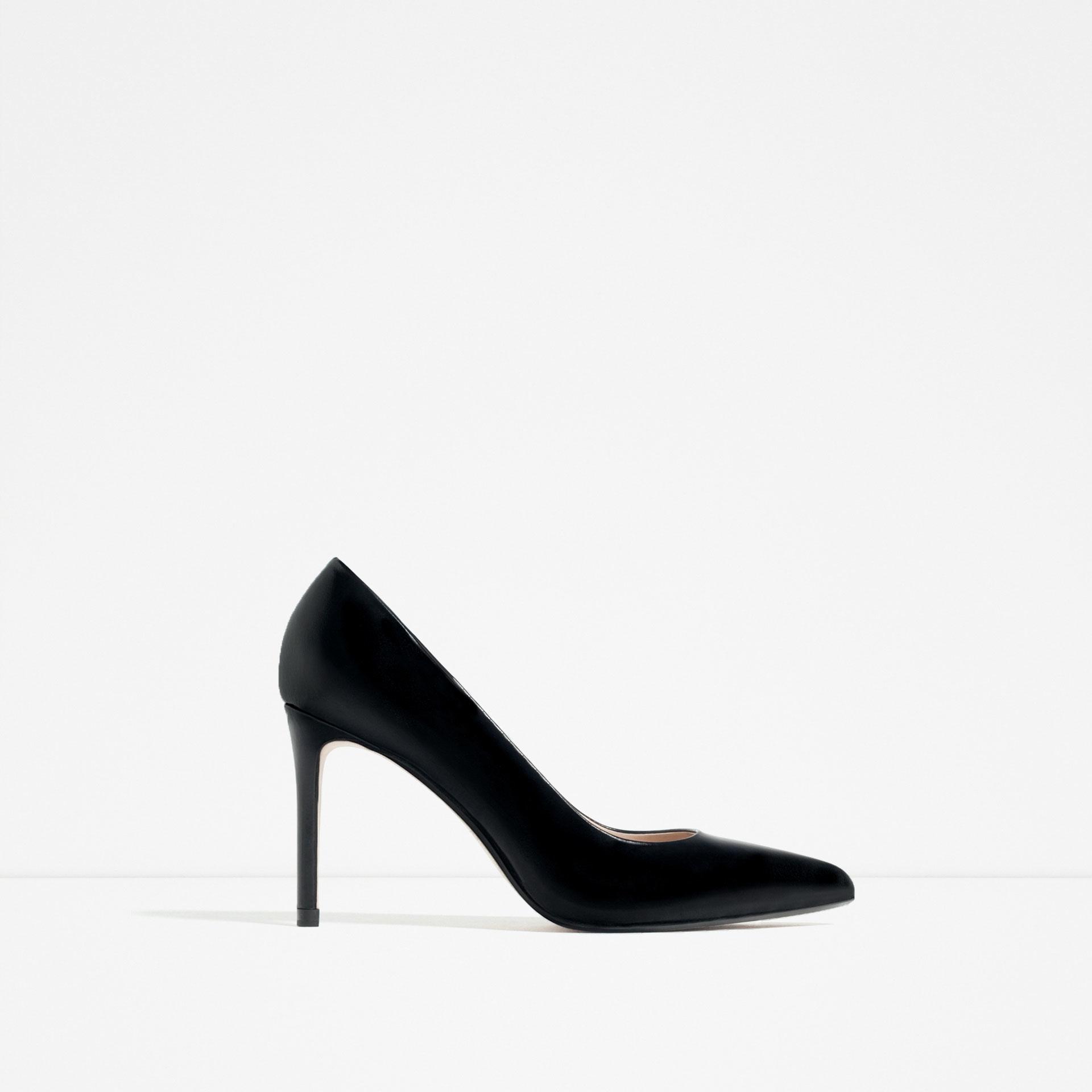 zara leather high heel shoes in black lyst