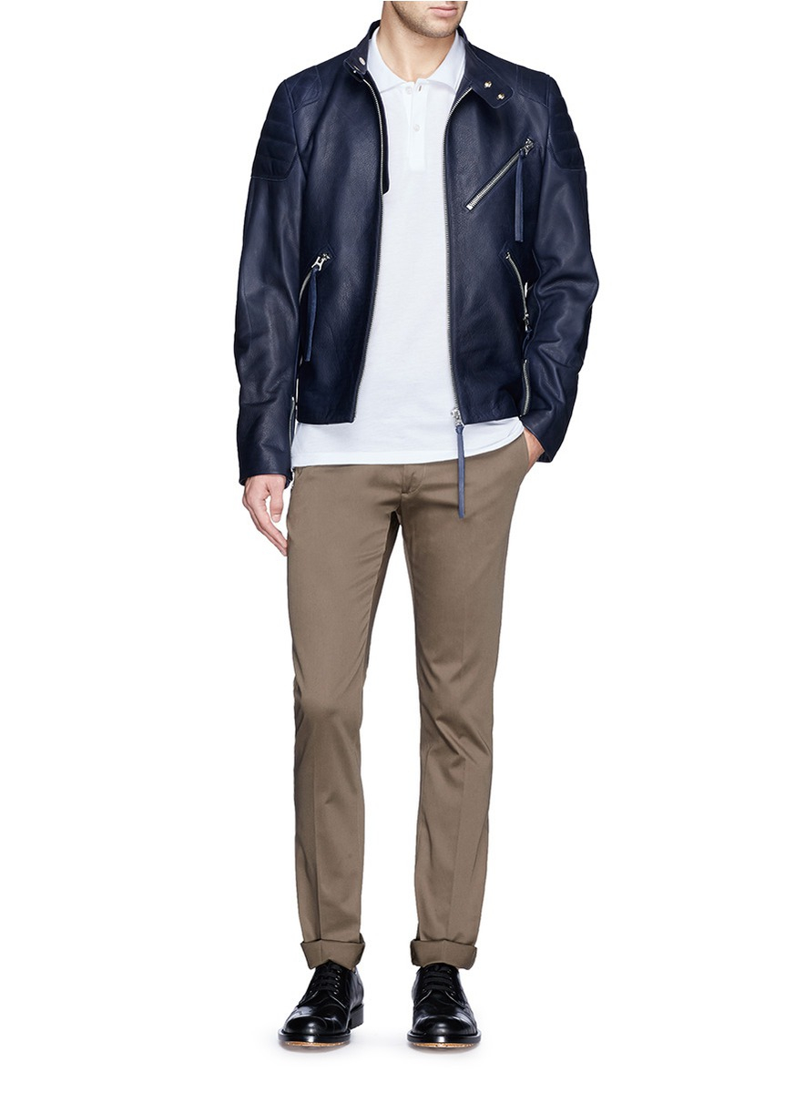 Acne studios Quilted Shoulder Leather Biker Jacket in Blue ...