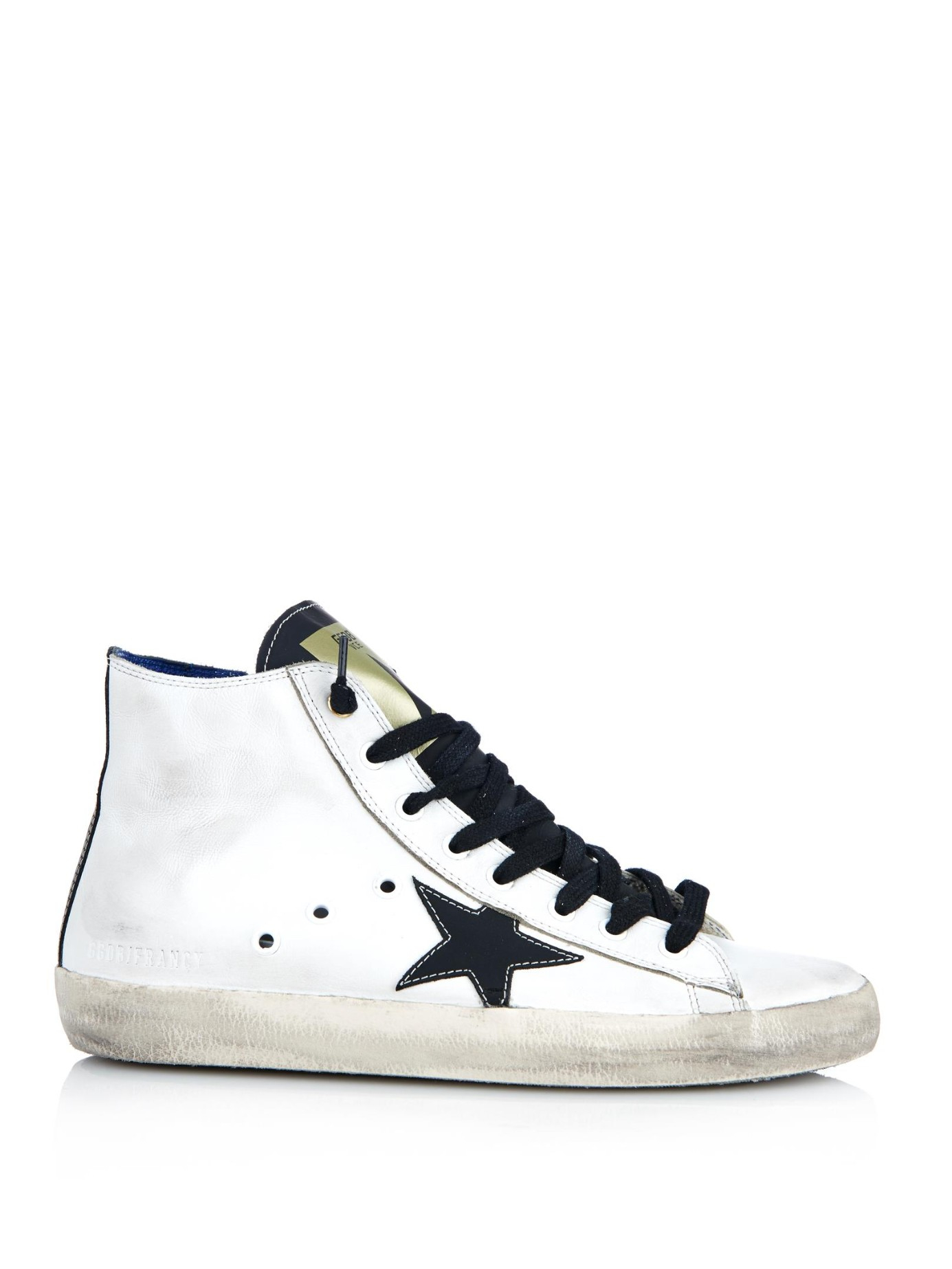 Francy Distressed Leather And Suede High-top Sneakers - White Golden Goose 6R48I0Pew