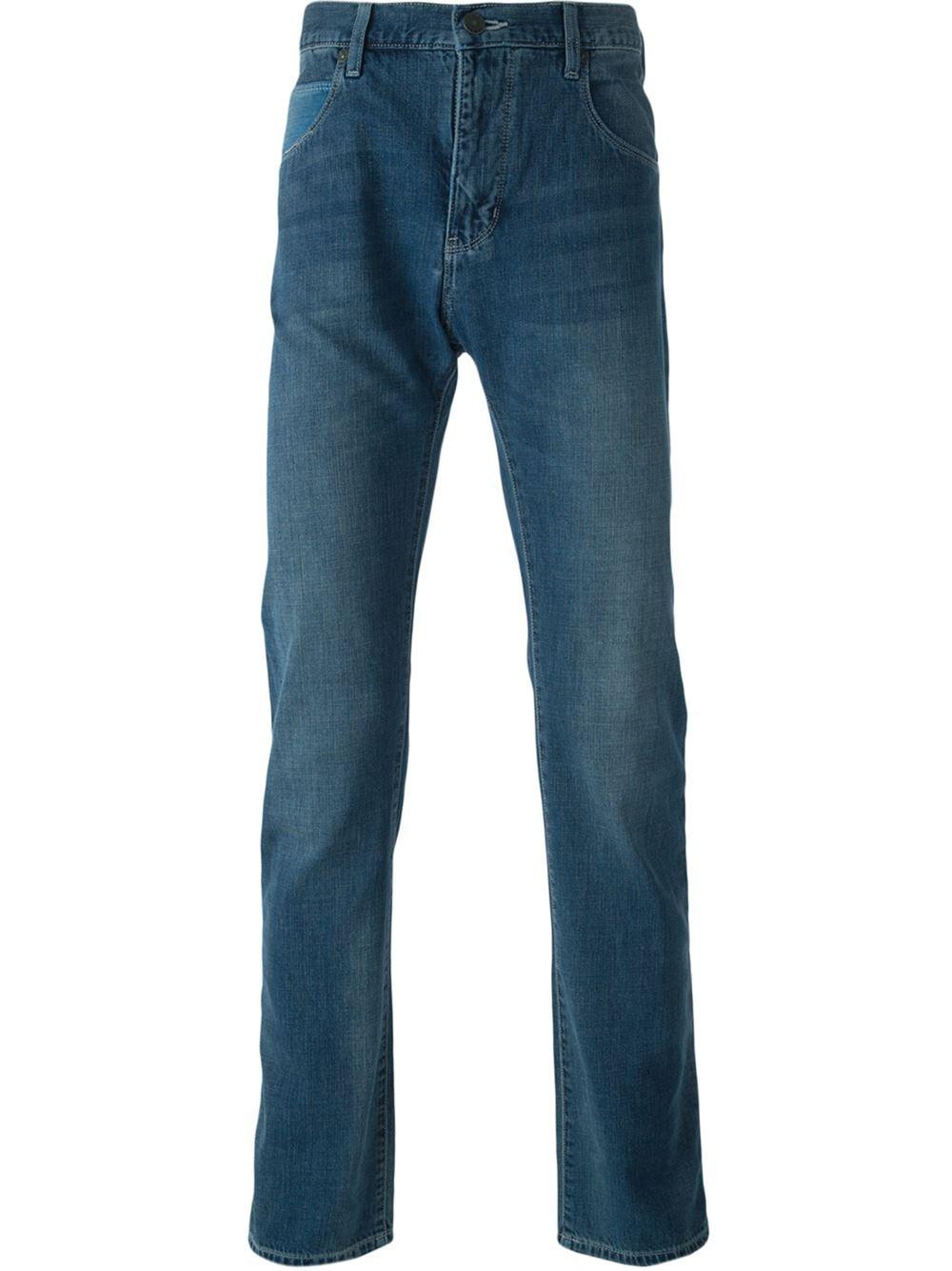 armani jeans regular fit jeans in blue for men lyst. Black Bedroom Furniture Sets. Home Design Ideas