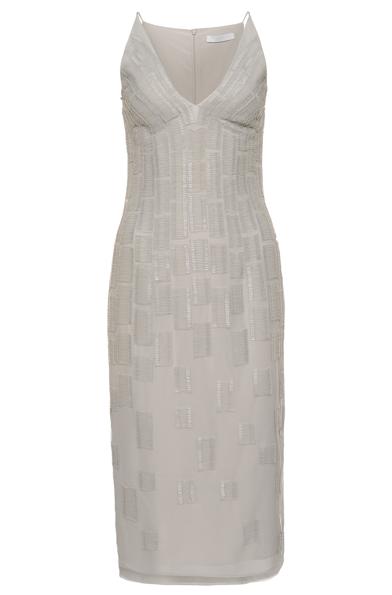 daleina beaded stretch crepe dress in gray grey