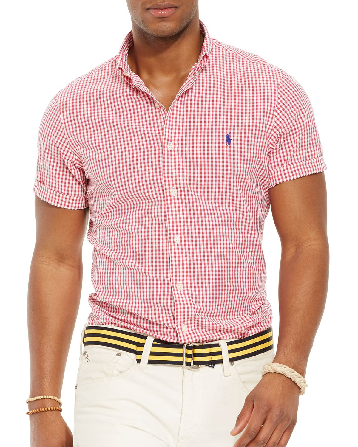 lyst ralph lauren polo short sleeved striped seersucker
