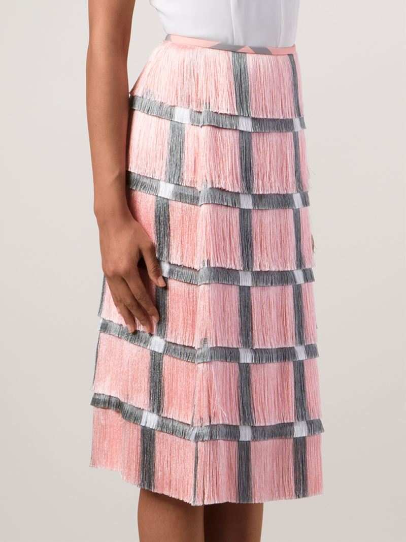 4a972f5079 Marco De Vincenzo Grid Print Fringed Skirt in Pink - Lyst