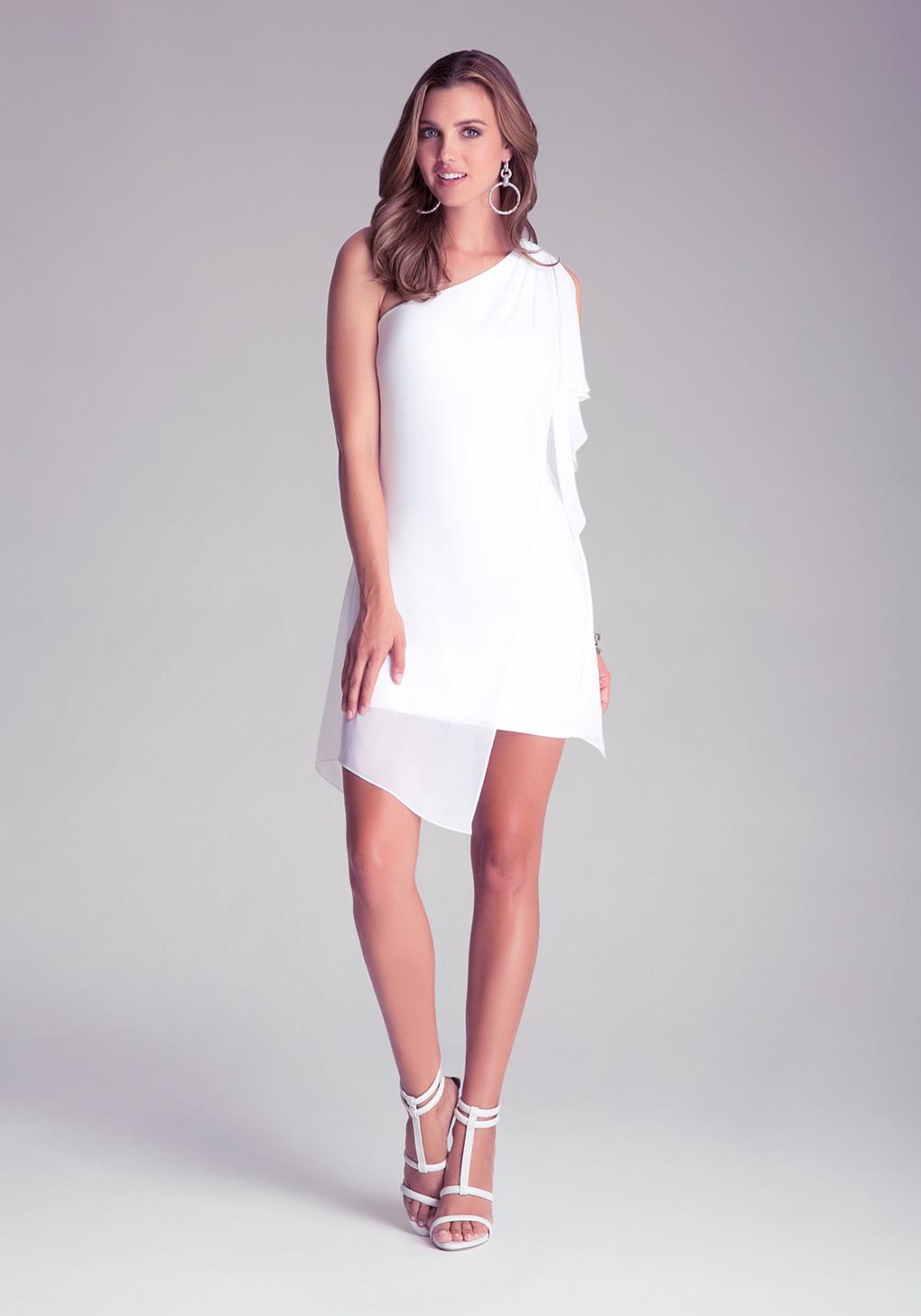 0bff502ef5 Bebe Asymmetric Drape Dress in White - Lyst