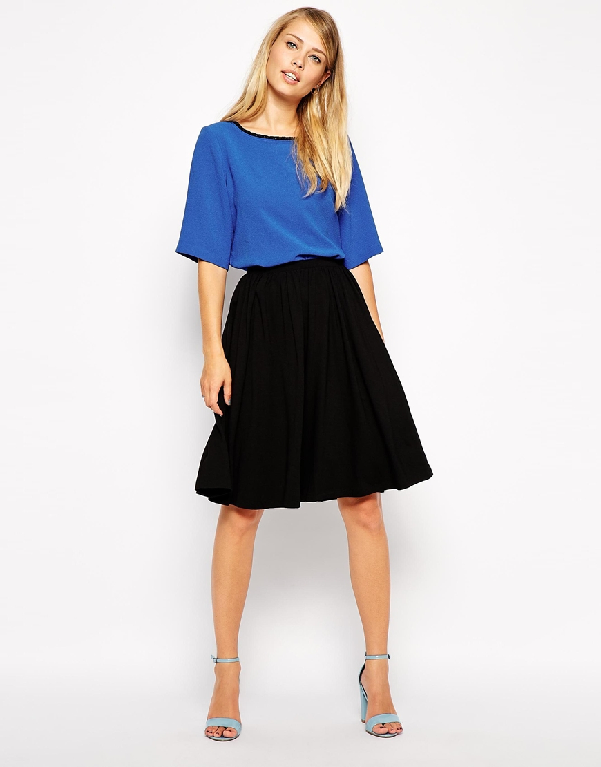 Asos Midi Skater Skirt in Black | Lyst