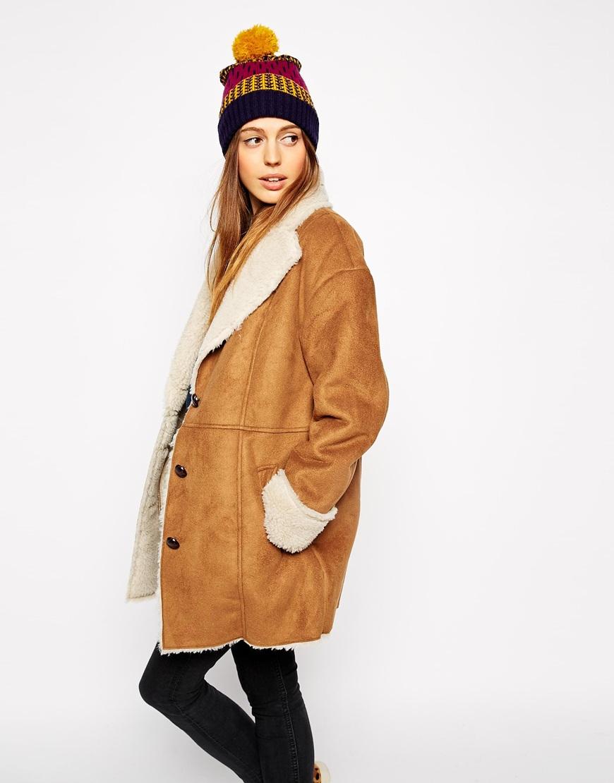 Asos Faux Fur Coat In Vintage Shearling in Brown | Lyst