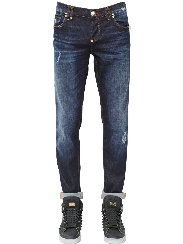philipp plein 17cm distressed stretch denim jeans in blue. Black Bedroom Furniture Sets. Home Design Ideas