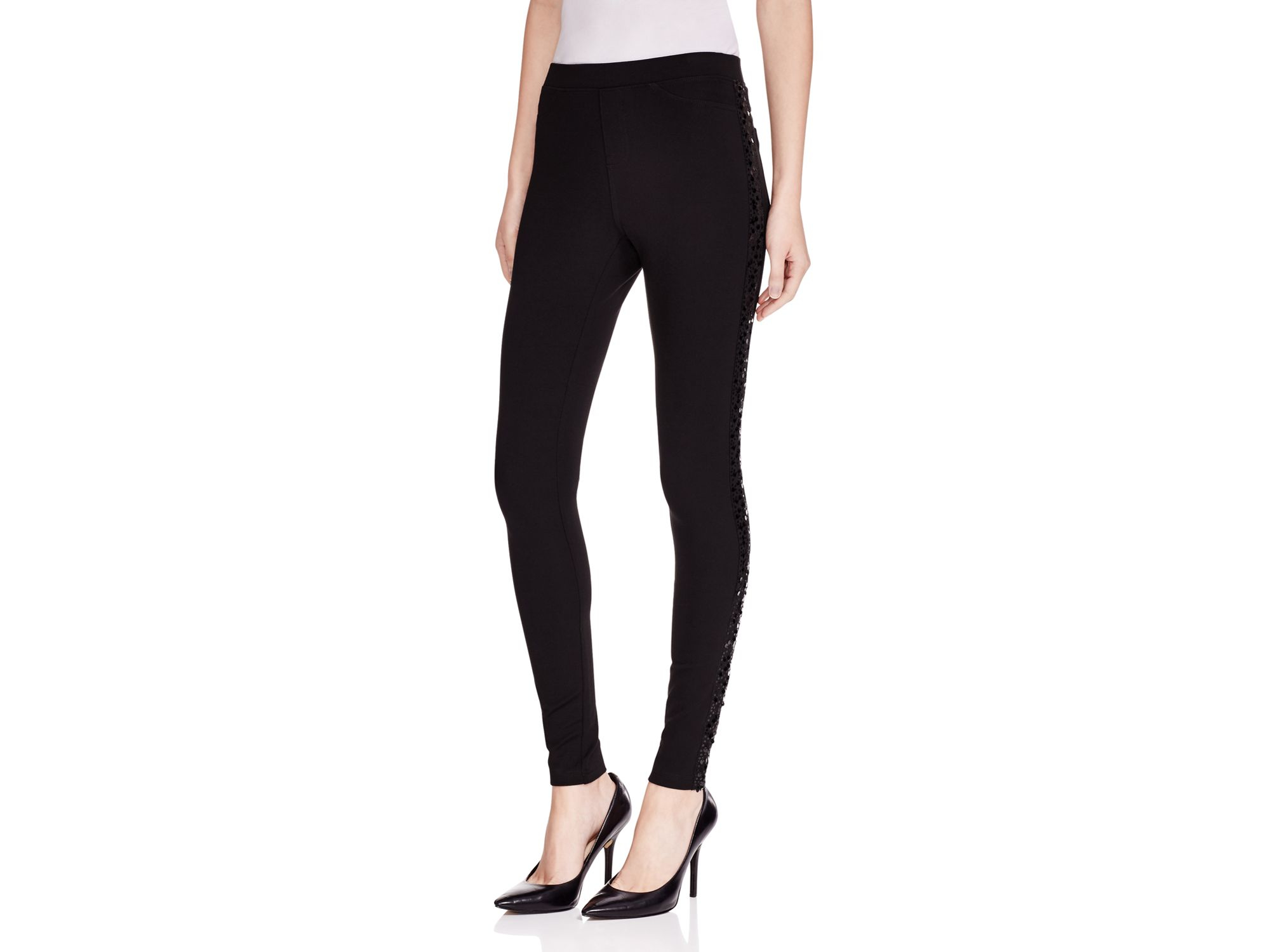 Hue Synthetic Sequin Tuxedo Stripe Ponte Leggings In Black