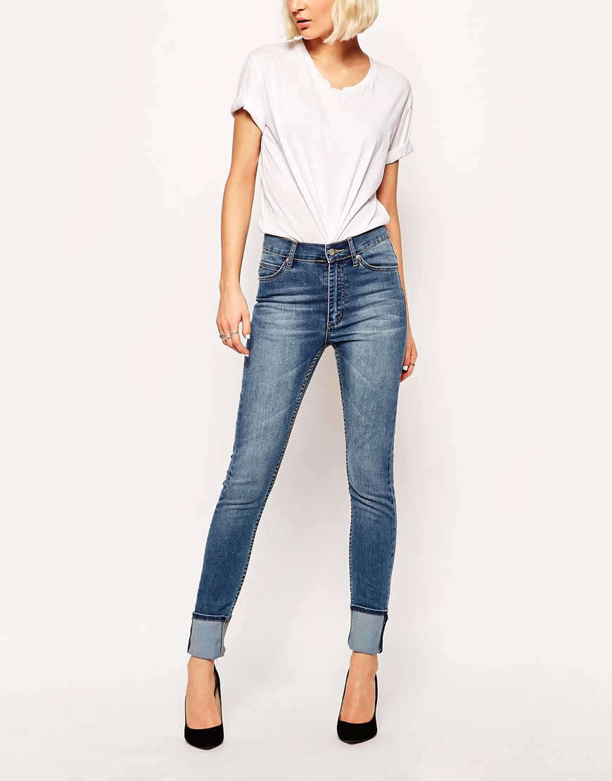 Cheap monday Second Skin High Waist Skinny Jeans in Blue | Lyst