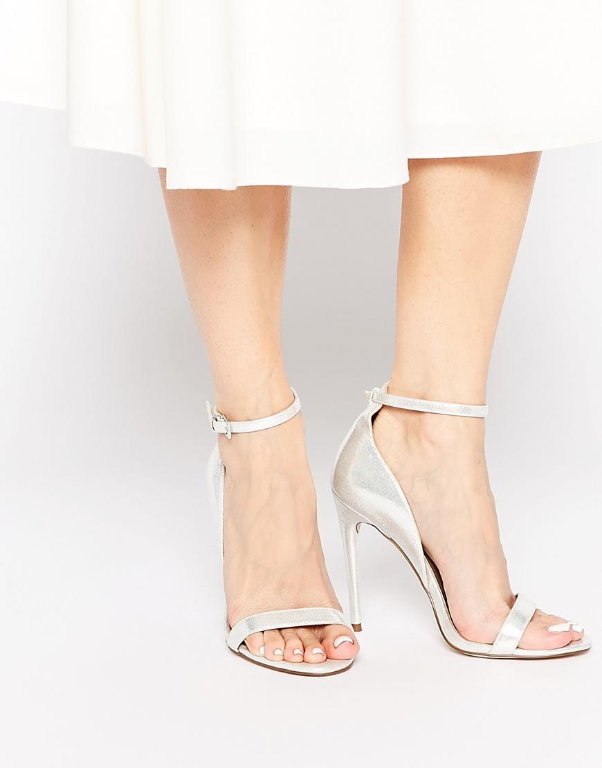 Asos Honey Wide Fit Heeled Sandals in Metallic | Lyst