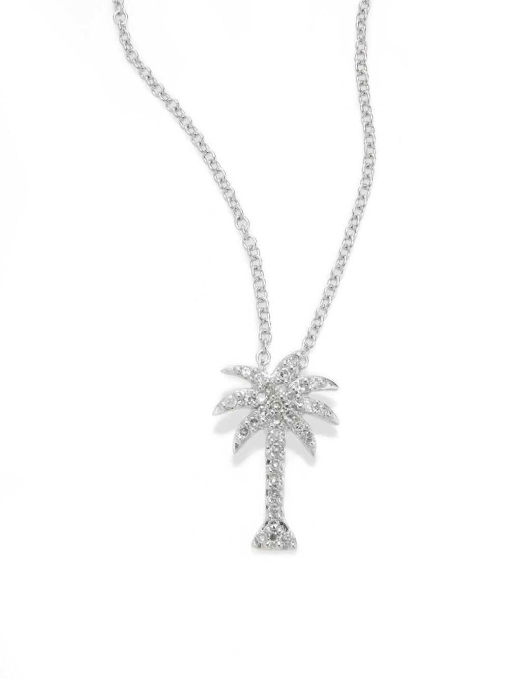 Effy Diamond Amp 14k White Gold Palm Tree Pendant Necklace