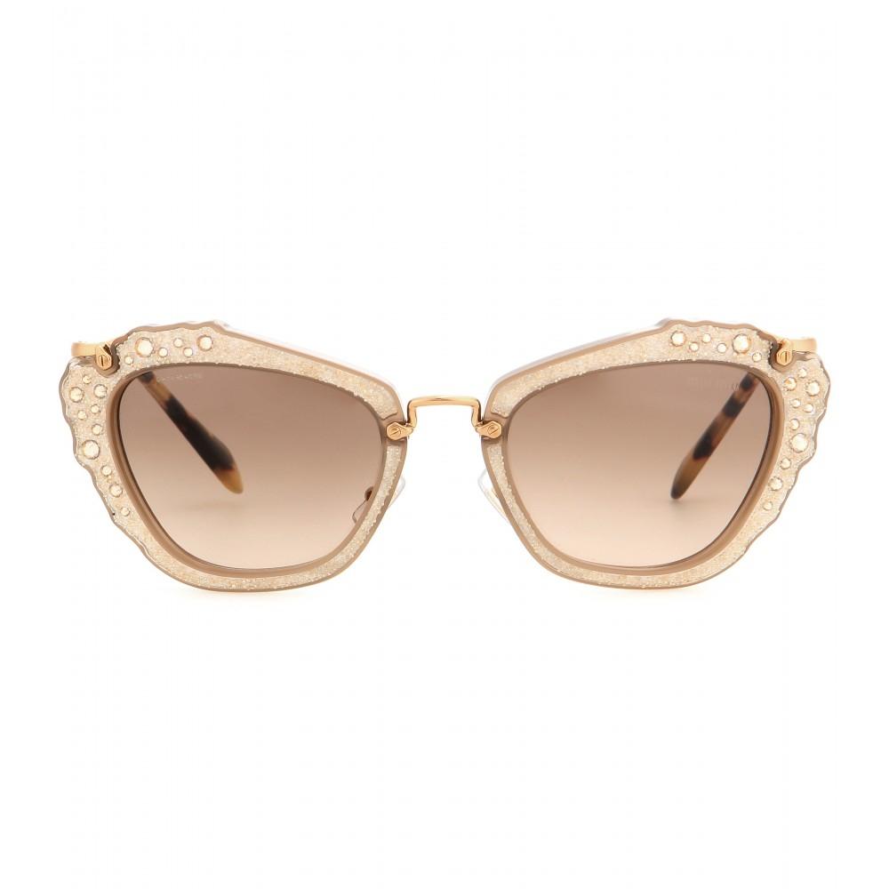 Lyst Miu Miu Embellished Cat Eye Sunglasses In Natural