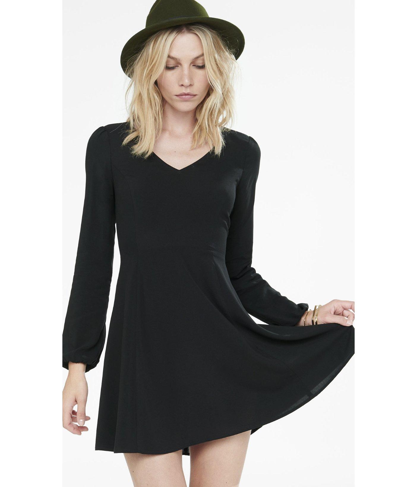 Black flare dress long sleeve