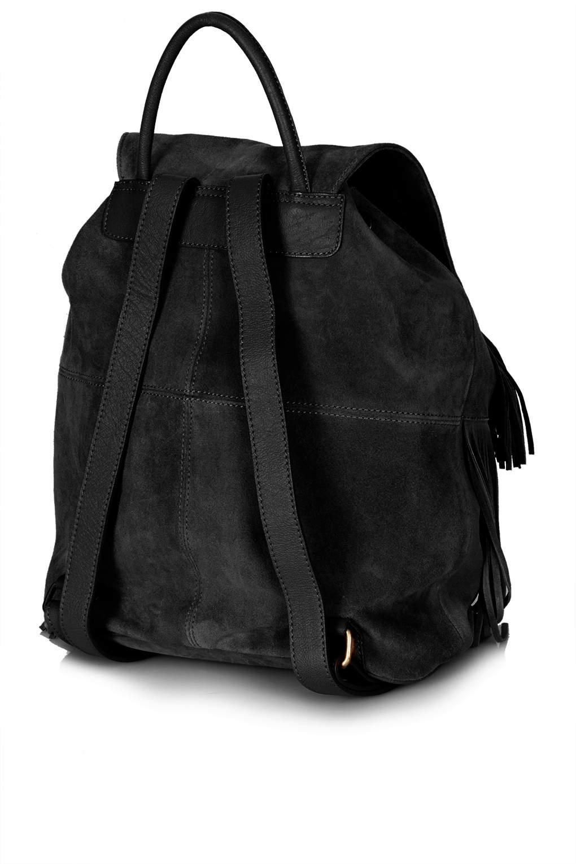 03f3da654725 Lyst - TOPSHOP Suede Tassel Backpack in Black