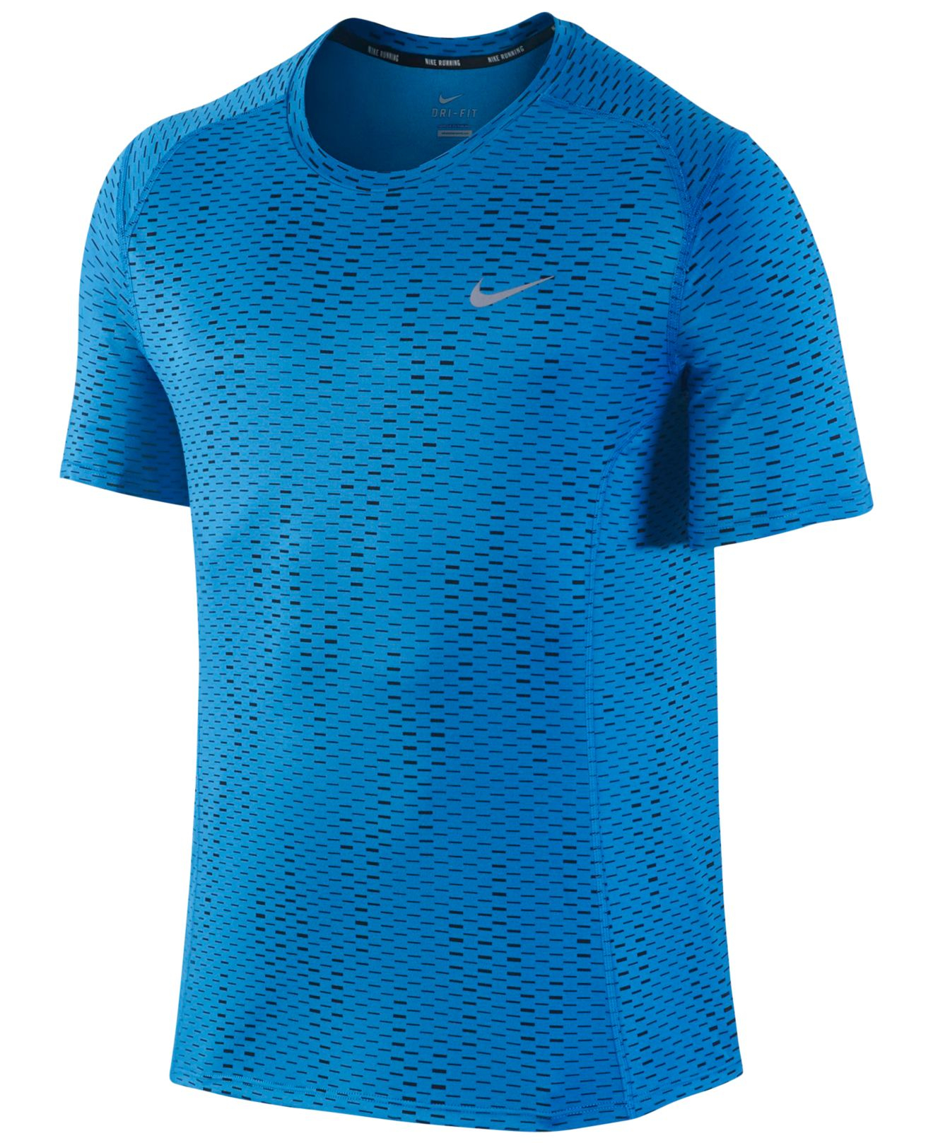 Nike men 39 s dri fit miler fuse running shirt in blue for for Running dri fit shirts