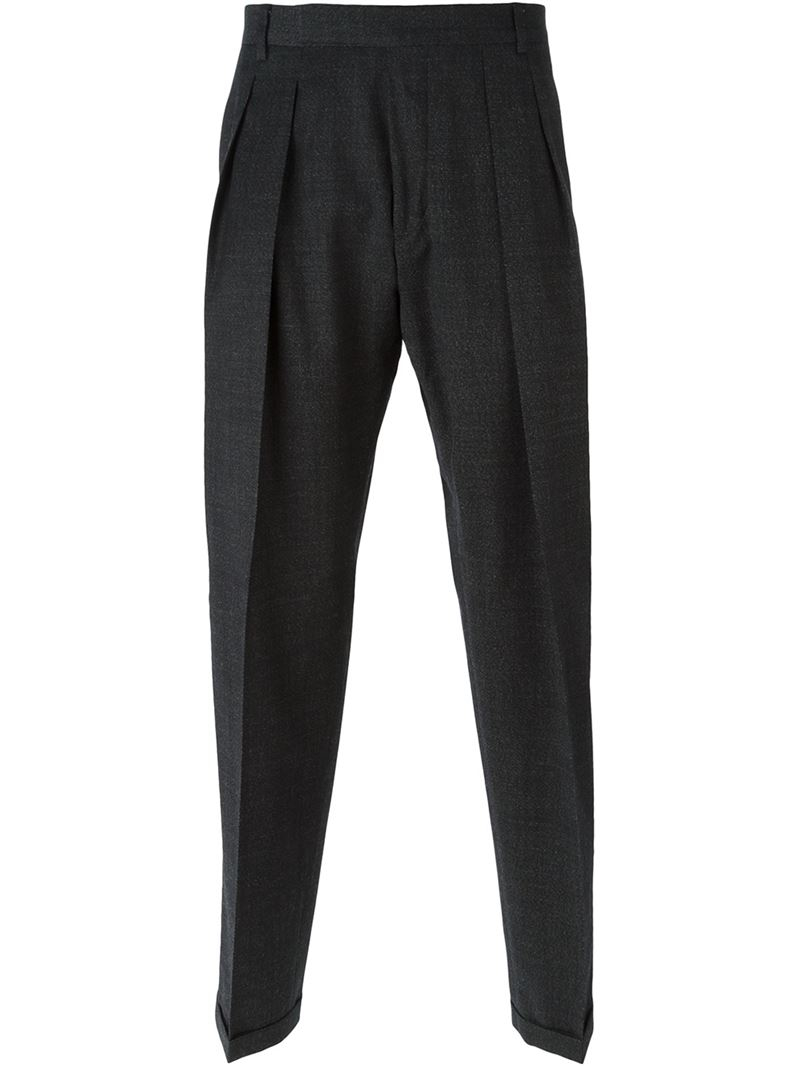 Carven Pleated Tapered Trousers in Black for Men | Lyst