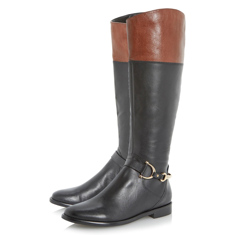Dune Taffey Leather Buckle Knee High Boots in Black / Tan (Black)