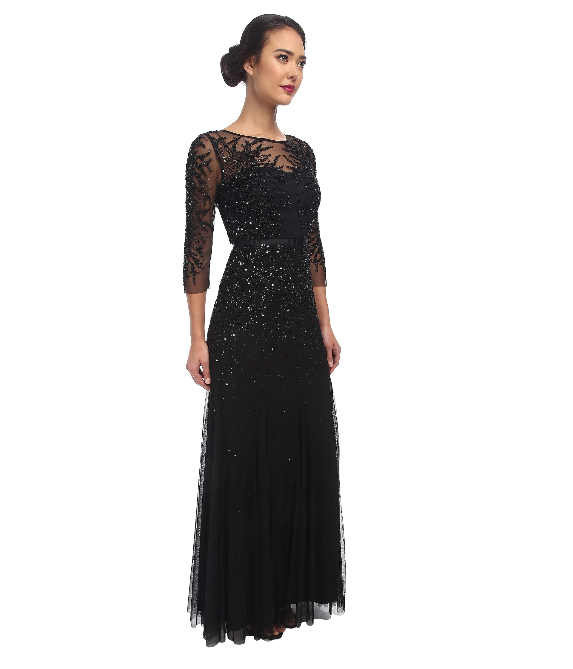 Black Papell Long Adrianna Beaded Sleeve Lyst In Gown QrdtsCBxh