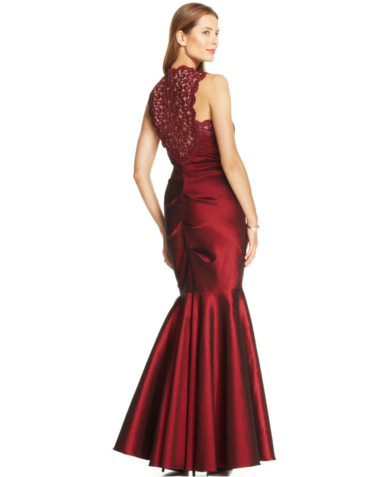 Lyst - Xscape Petite Sleeveless Glitter Lace Mermaid Gown in Red