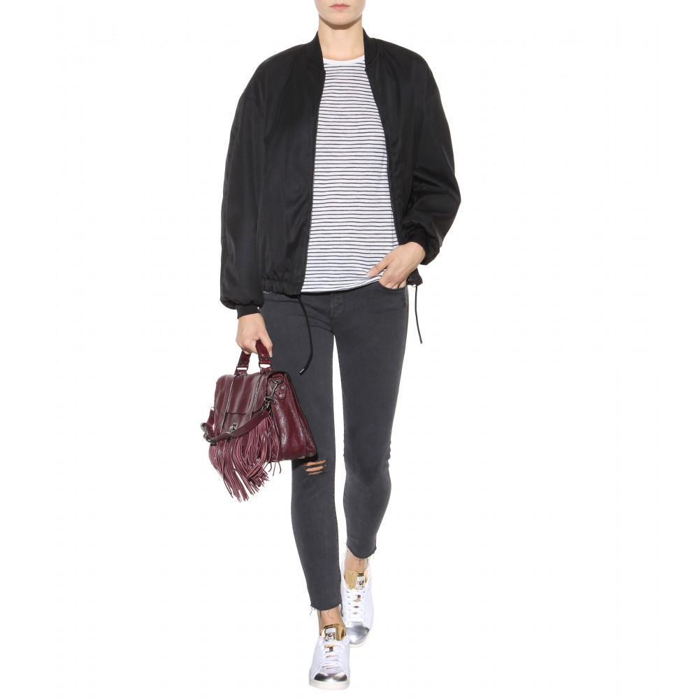 Mother The Looker Ankle Fray Jeans in Grey