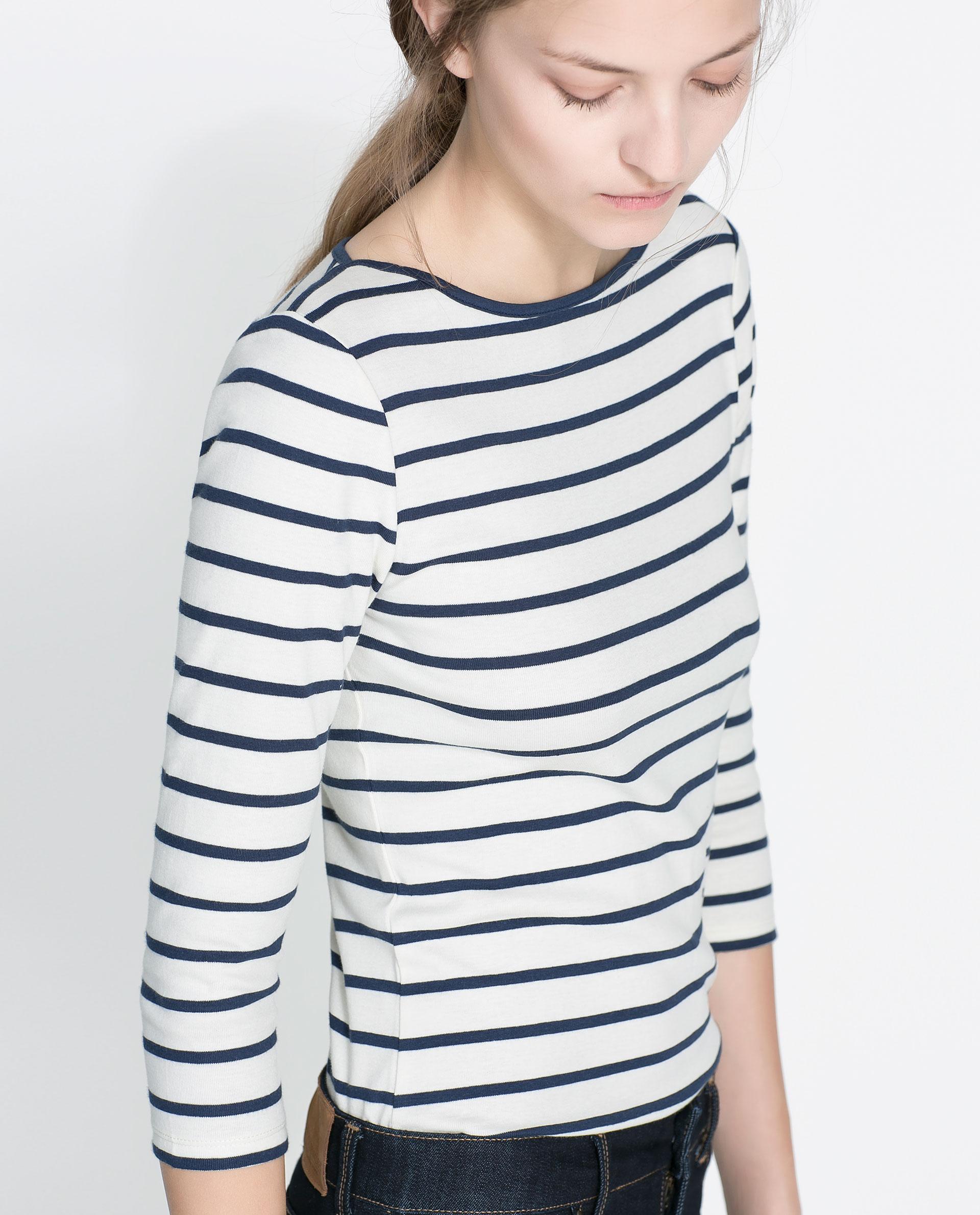 Zara Organic Cotton Striped T Shirt In Blue Ecru Navy