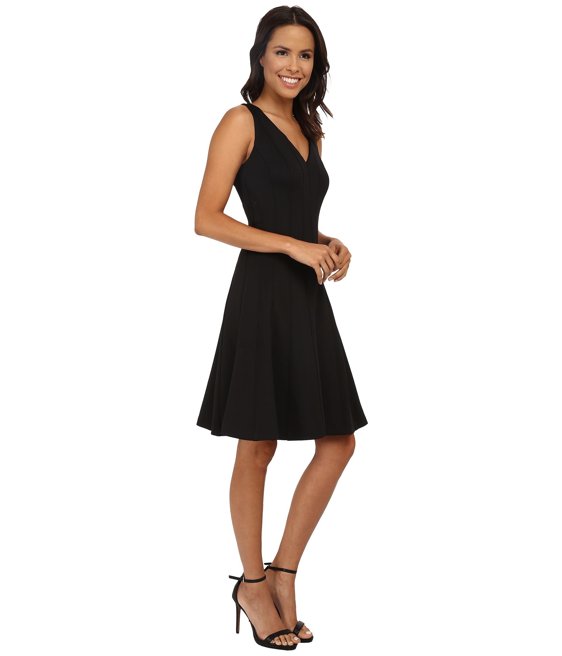 Lyst Calvin Klein Fit Amp Flare V Neck Dress In Black
