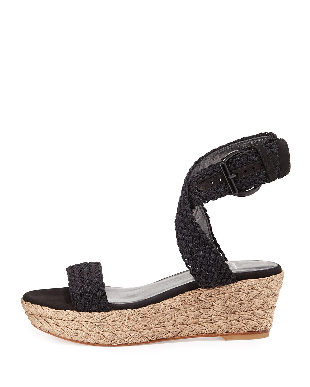 76338e275a7 Lyst - Stuart Weitzman Alexlo Crochet Wedge Sandal in Black