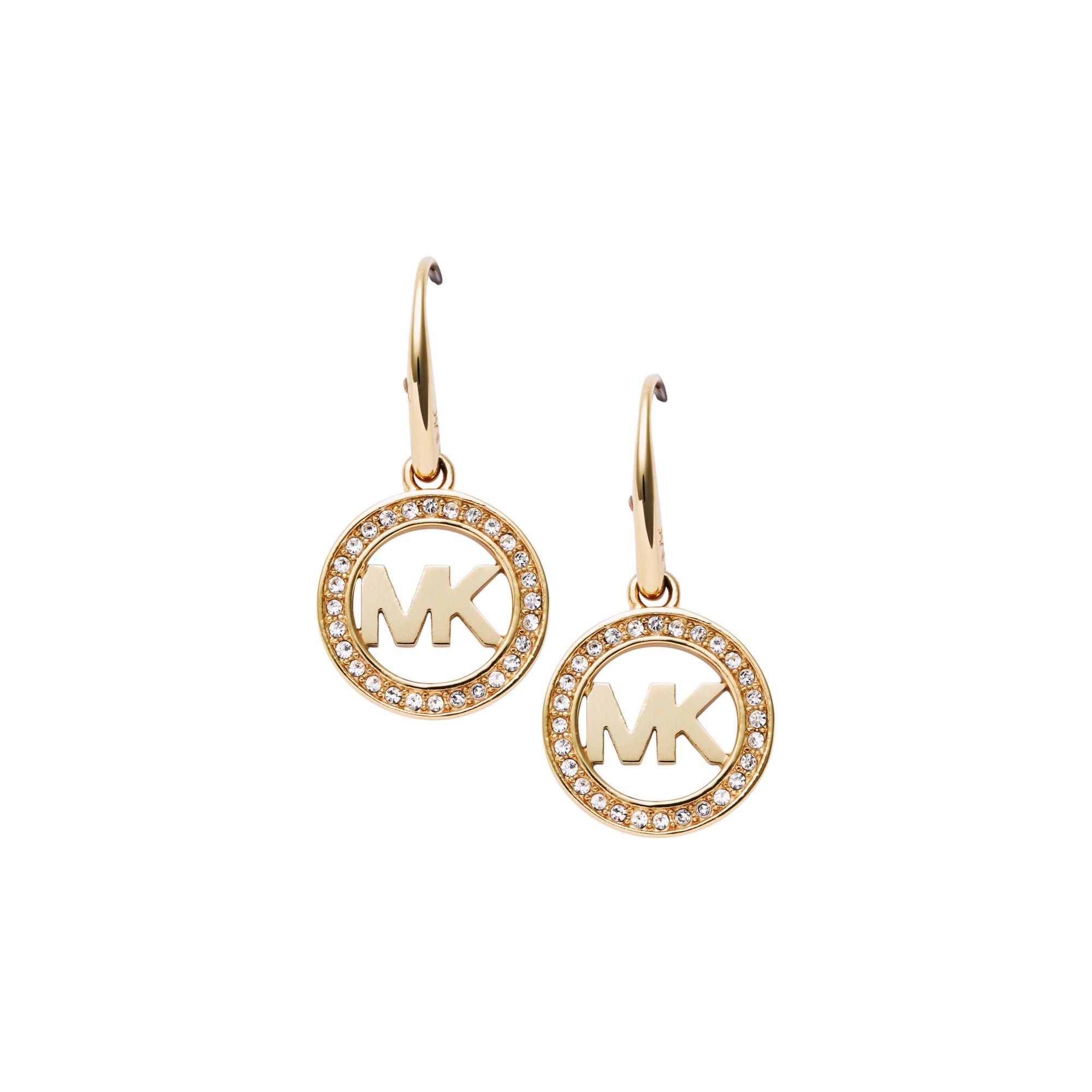 Lyst - Michael Kors Pavé Logo Gold-tone Earrings in Metallic 7bd41c7880