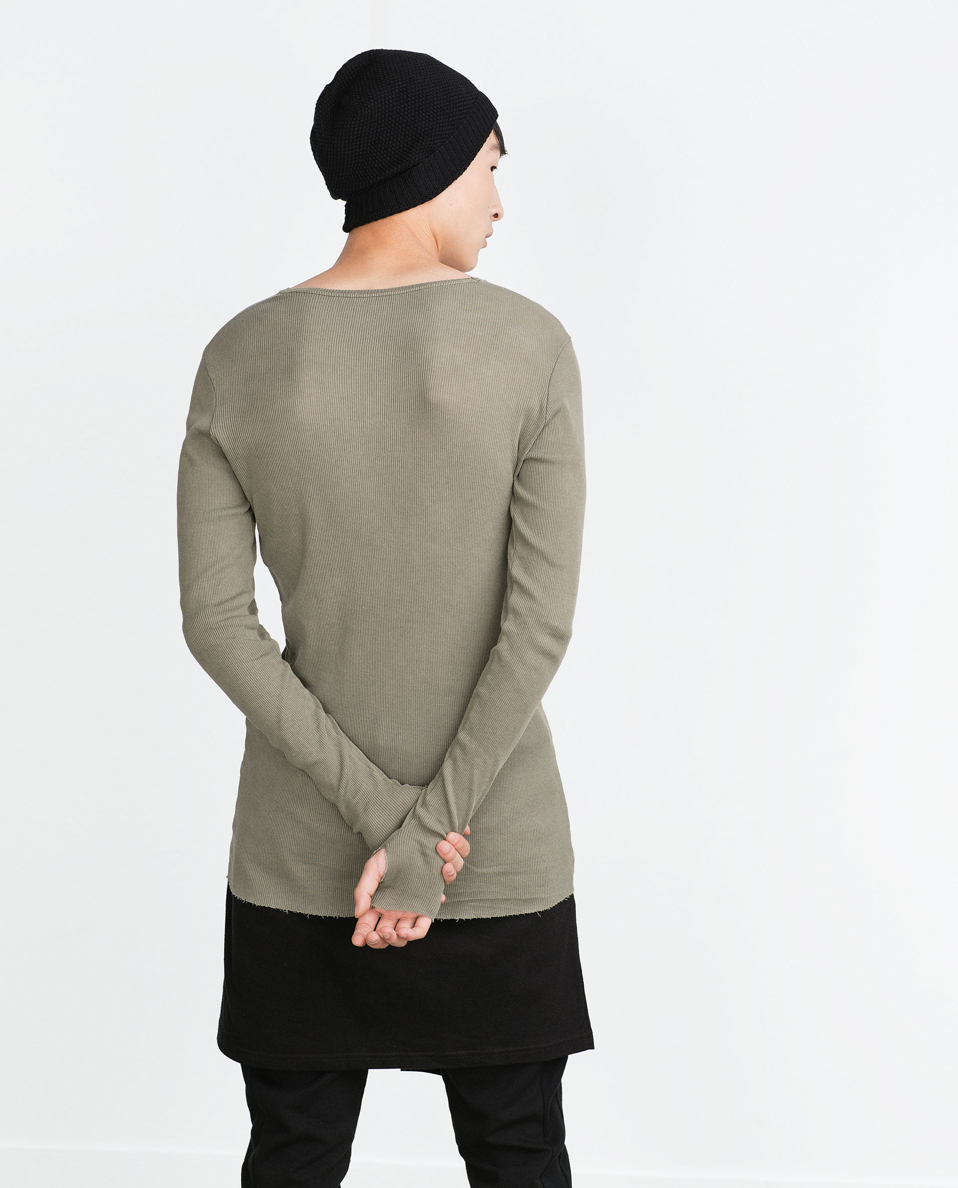 Zara dark ribbed t shirt in khaki for men lyst for Zara mens shirts sale