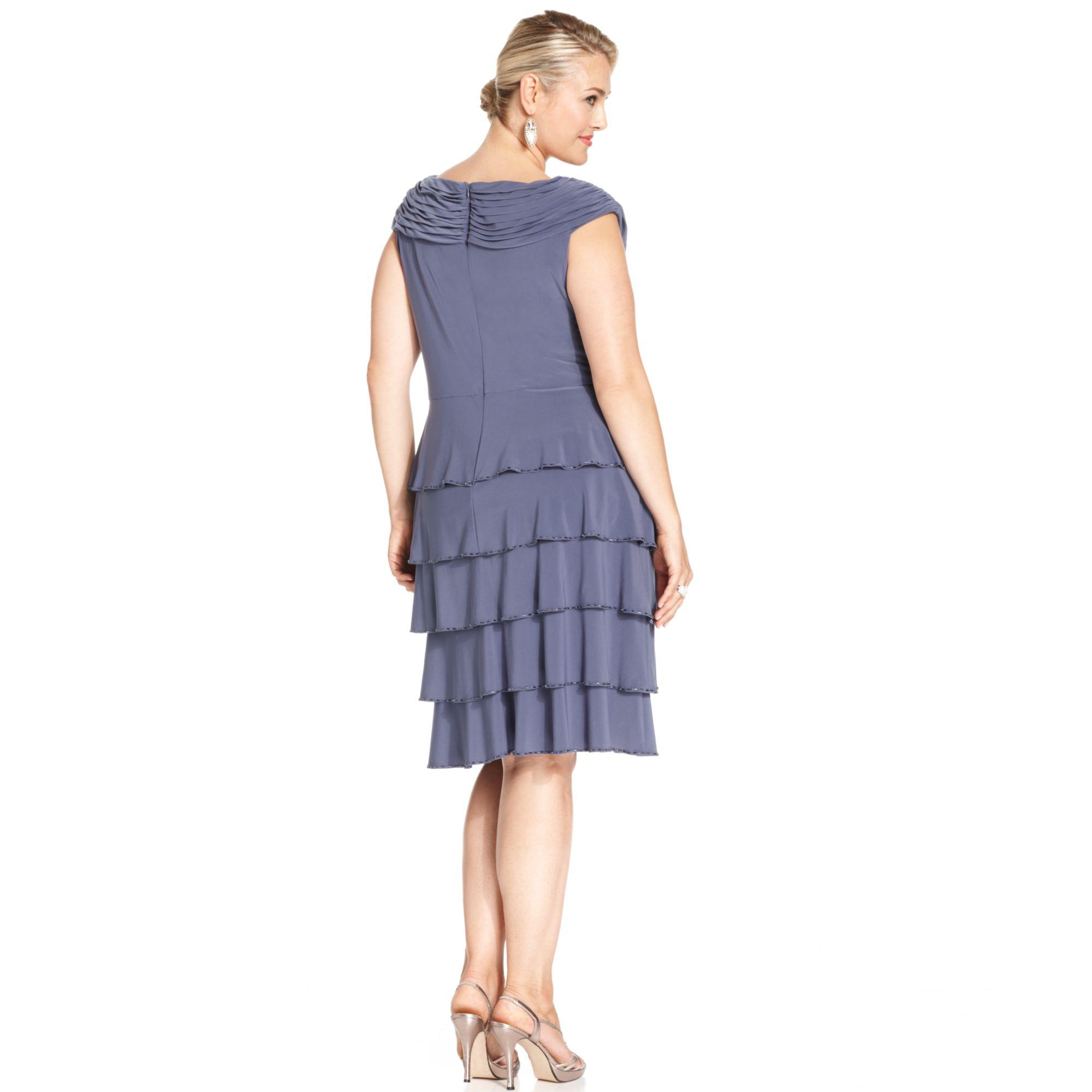 Plus Size Beadtrim Tiered Dress