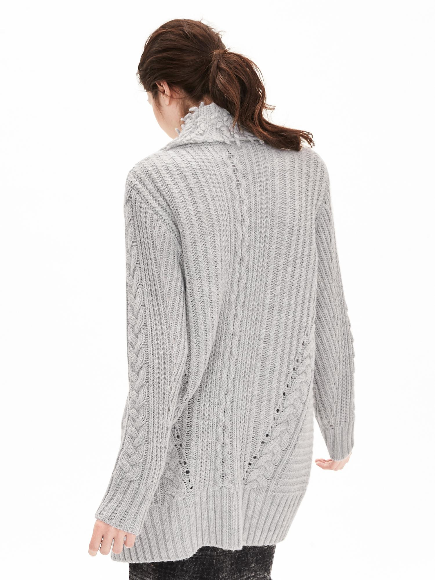 Lyst Banana Republic Fringe Collar Cable Knit Sweater