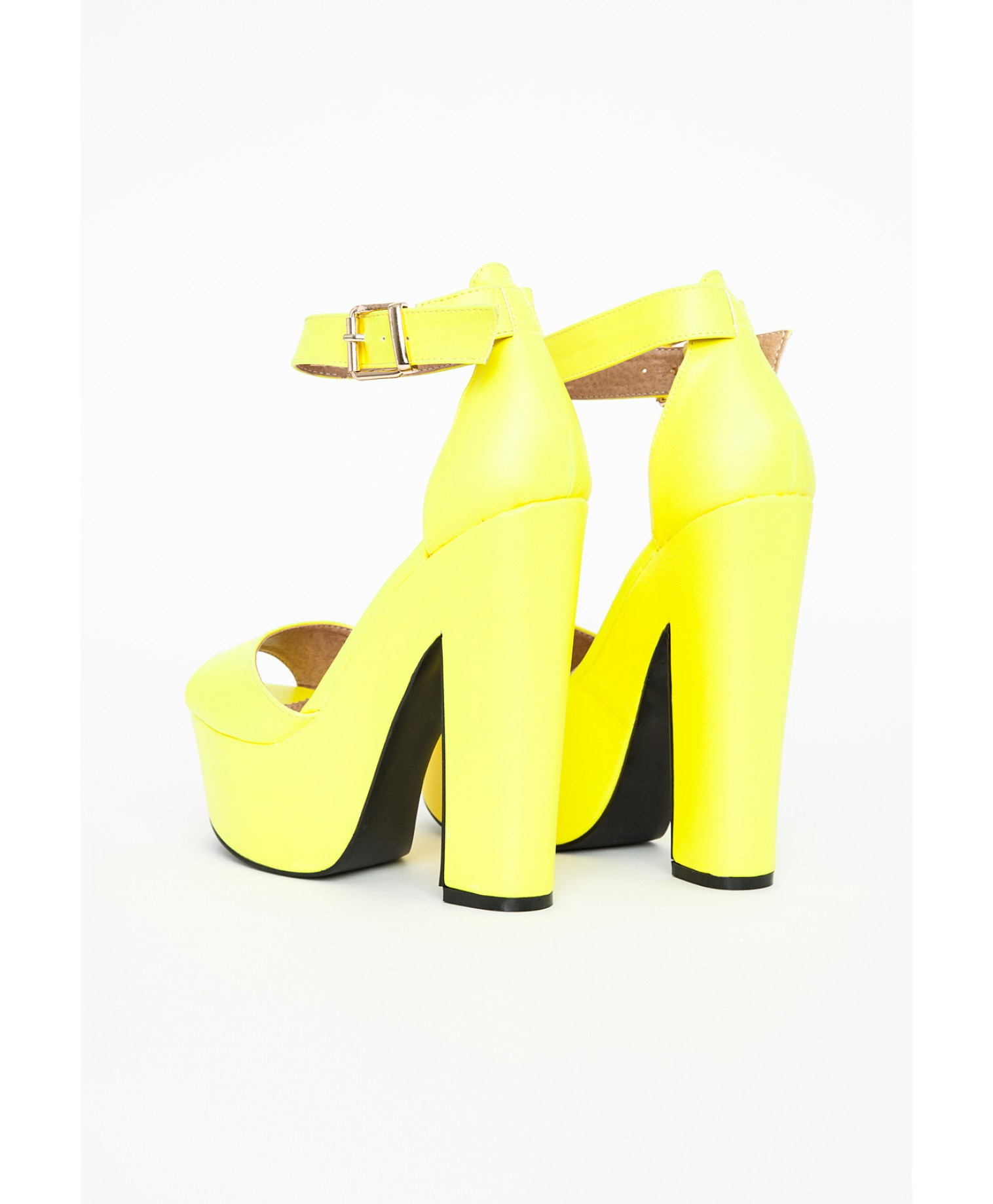 Missguided Alana Platform Block Heels In Neon Yellow in Yellow | Lyst