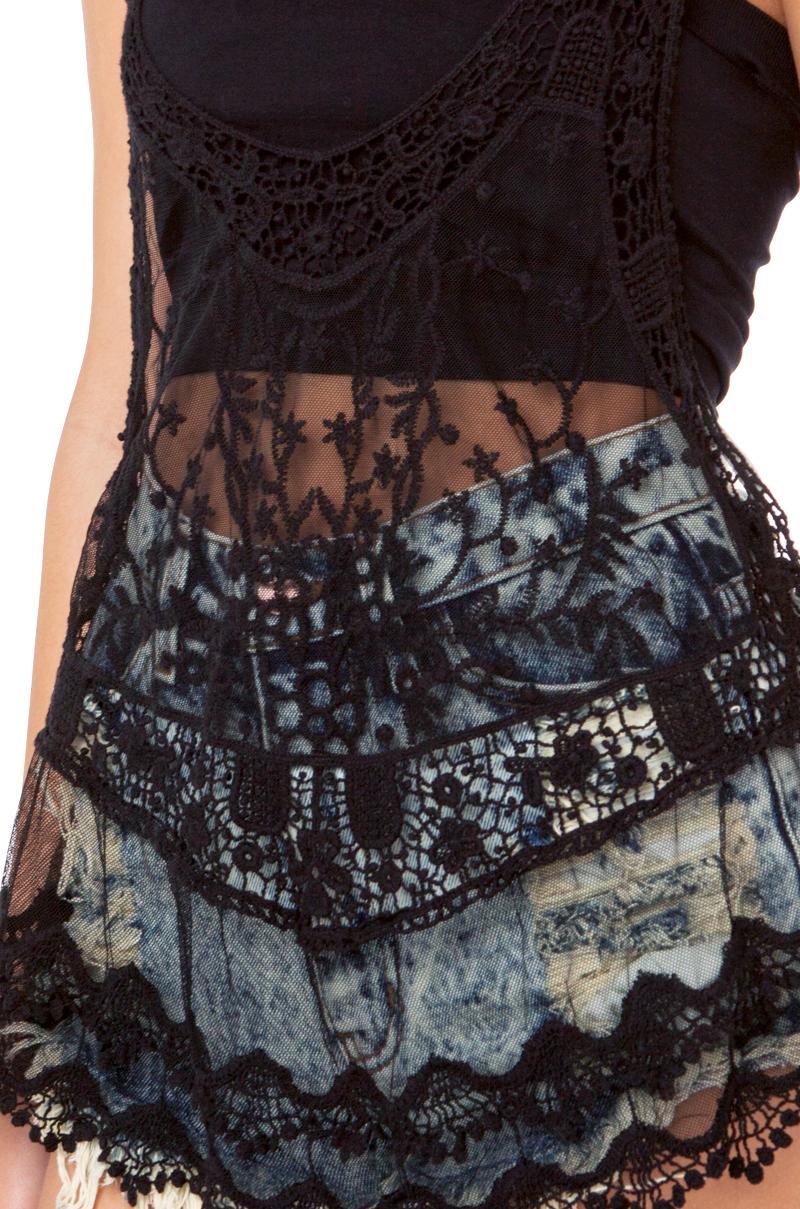 AKIRA Crochet Lace Insert Tank in Black