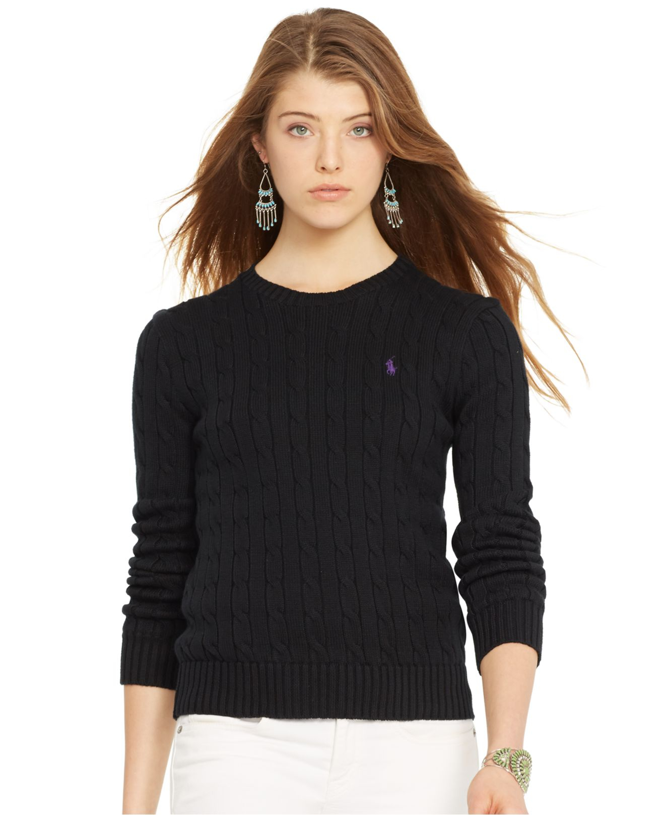 8bc0bd8d5a Polo Ralph Lauren Crew-Neck Cable-Knit Sweater in Black - Lyst