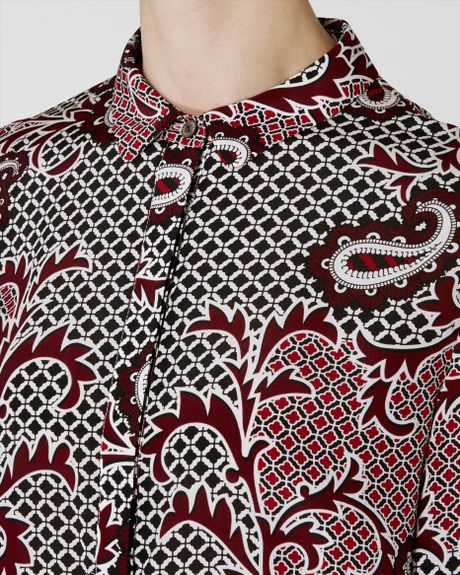 Jaeger Paisley Print Silk Shirt Dress In Red Black Red