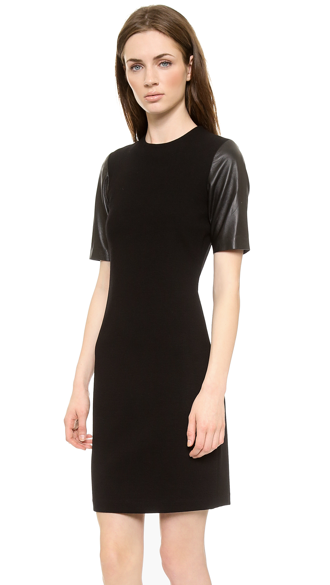 Vince Leather Sleeve Pencil Dress - Black in Black | Lyst