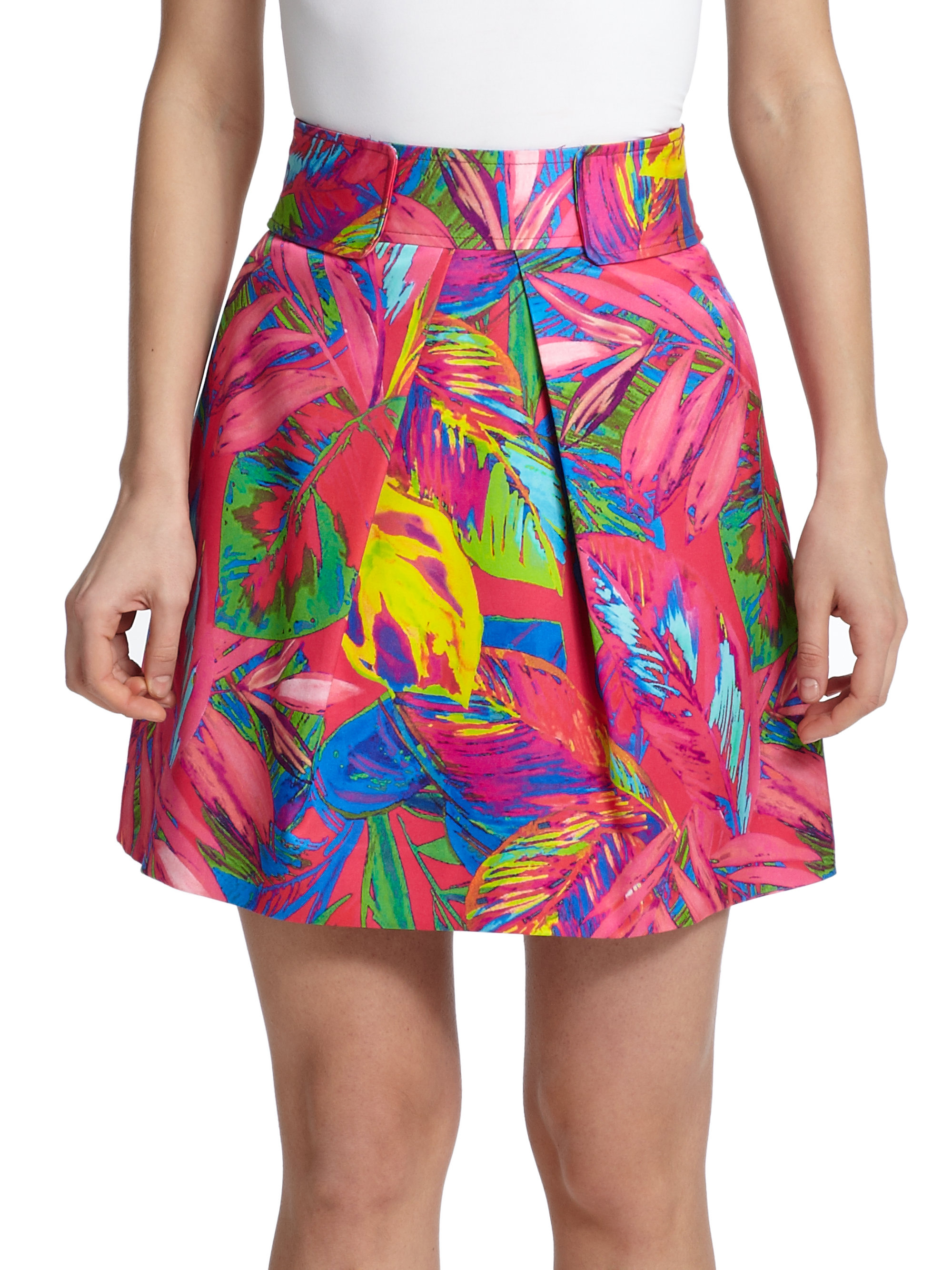 Milly Tropical Print Skirt Lyst