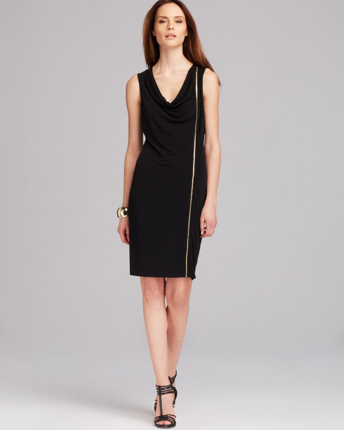 Calvin Klein Sleeveless Zipper Dress In Black Lyst