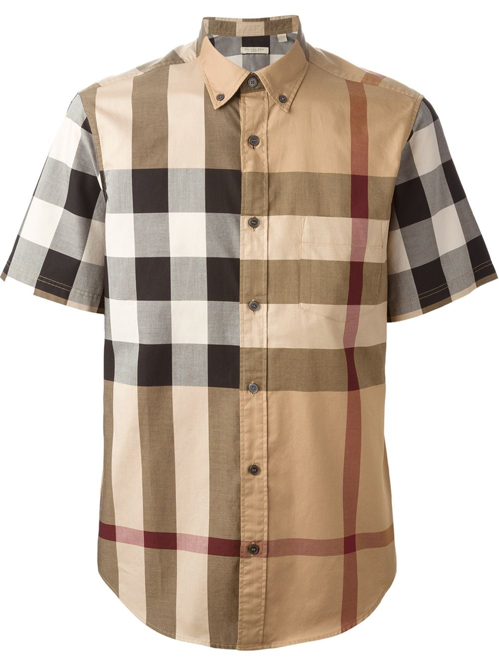 Burberry brit fred woven check sport shirt in brown for for Burberry brit checked shirt