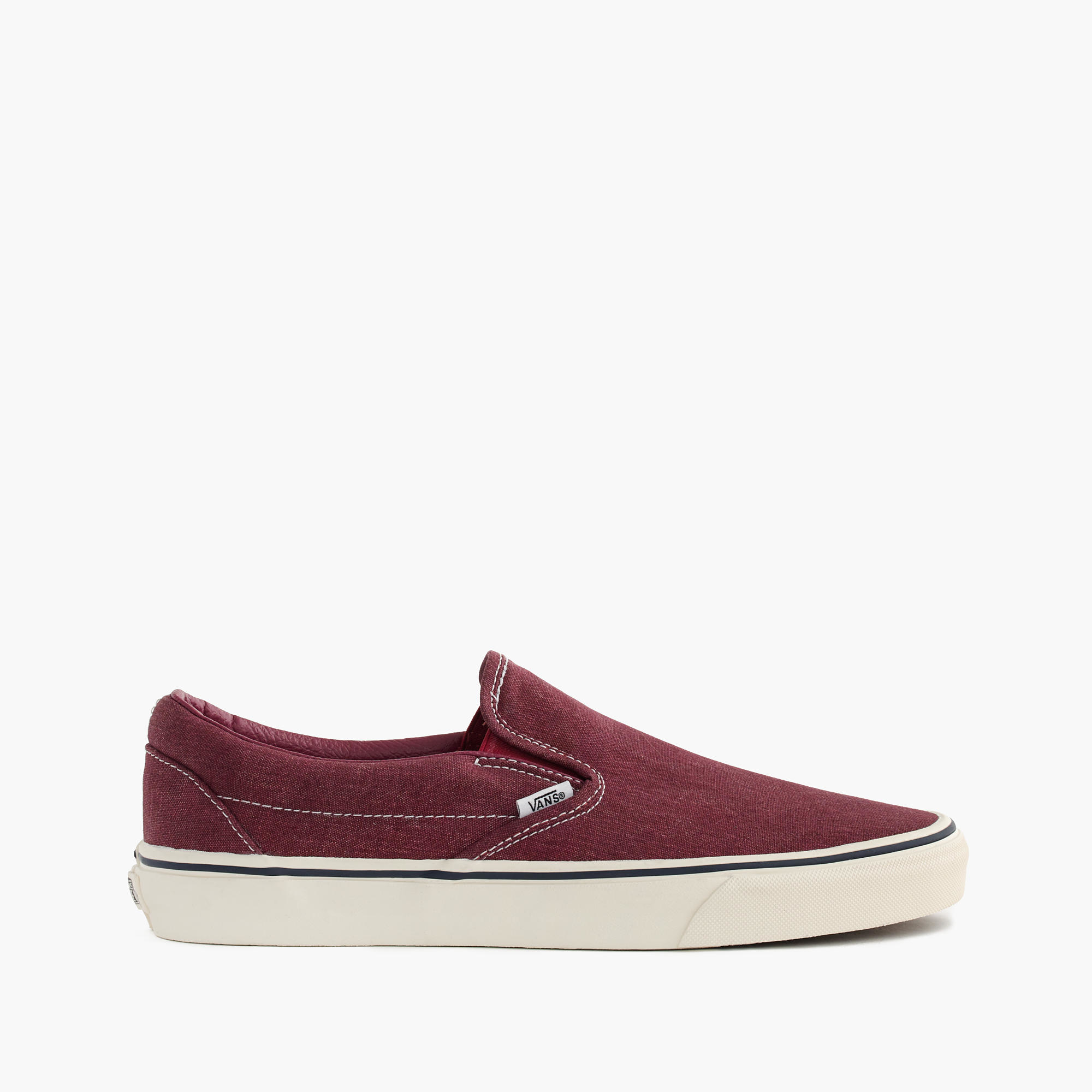 a356f8e02 J.Crew Vans Washed Canvas Classic Slip-on Sneakers in Red - Lyst