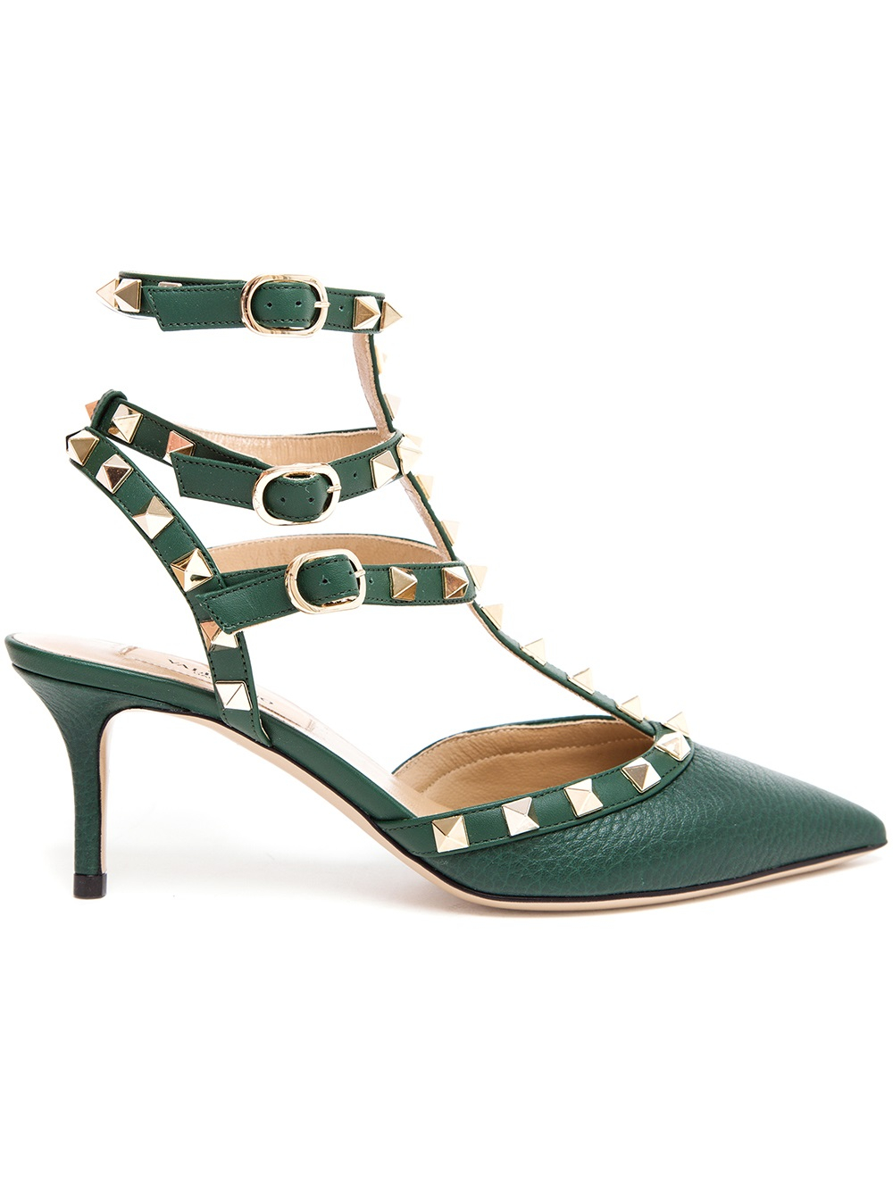 valentino rockstud leather kitten heels in green lyst. Black Bedroom Furniture Sets. Home Design Ideas