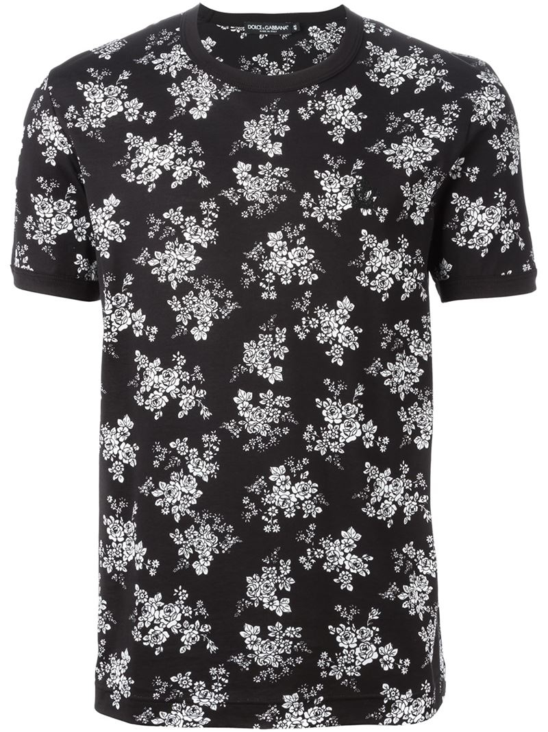 Lyst dolce gabbana flower print t shirt in black for men gallery mightylinksfo