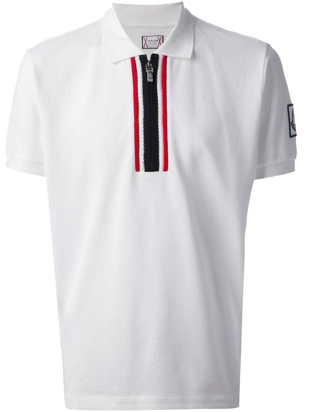 ed1e06f0d Moncler Gamme Bleu White Zip Front Polo Shirt for men